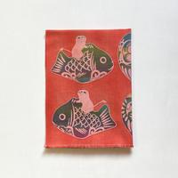 手ぬぐい [だるま×鯛乗り子] 朱 / Tenugui -Daruma doll×Zodiac papier mache:rat-