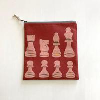 ポーチ [チェス] 赤 / Zipper Pouch -Chess-