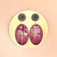 ad print earring(swing type)/burgundy