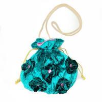 fluffy flower  purse(巾着ポシェット) /green & pink