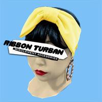 Ribbon Hair Turban/stretch satin