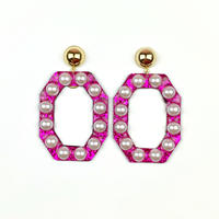 bring bring earrings/glitter pink