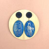 ad print earring(swing type)/indigo