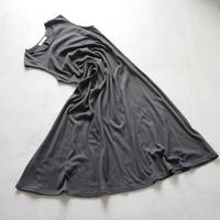 OP66    甘撚りCネックフレアワンピース / ノースリーブ