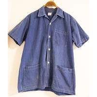 "40~50's ""CMC"" French Indigo Metis Short Sleeve Shirt"