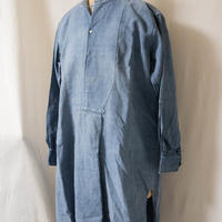 1900's French  Linen Fated Chambray Smock Shirt