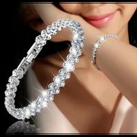 ファッションローマンスタイルの女性925スターリングシルバークリスタルダイヤモンドジルコニアブレスレットギフト