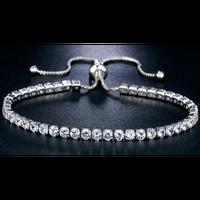 新しい高級925スターリングシルバー輝くキュービックジルコンダイヤモンド調節可能なブレスレット女性エレガントな誕生石クリスタルブレスレットファッションジュエリーギフト