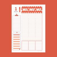 6月カラフルなバーチカル手帳(赤・オレンジ・黄・ピンク):A5サイズ