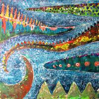 恐竜のしっぽの絵「Oppo musica」SATOO ST008