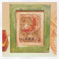 ST050月の絵「赤い月と蒼い山」