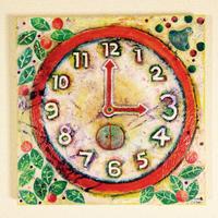 ST064「時計は3時がいい」左藤芳美 アクリル画/木パネル