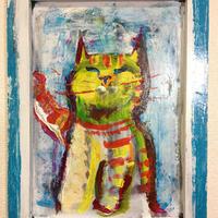 ST036黄色い猫の絵「いえろう」