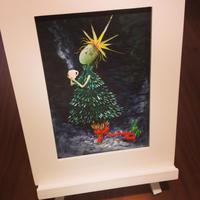 ST062クリスマスの絵「ツリーへの想い」