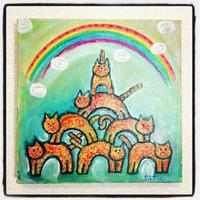 ST023猫の絵「レインボーバランス」