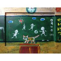ST026学校の教室にいる猫の絵「放課後」