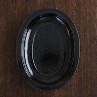 高島悠吏 黒釉リム楕円皿M
