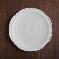 照井壮 乳白釉キキョウ盤皿6寸