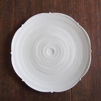 照井壮 乳白釉キキョウ盤皿8寸