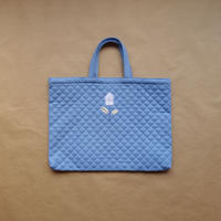 Tulip Embroidery  Quilted Bag /  Ice Blue