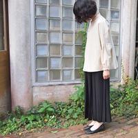 ラップ風  2/60ハイカウントフラノ プリーツスカート<17301-PS/BLACK>