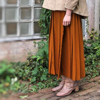 ラップ風  2/60ハイカウントフラノ プリーツスカート<17301-PS/MUSTARD>
