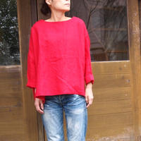 アイリッシュリネン プラットエアーイン布帛バスクシャツ<16121-BL / CHERRY>