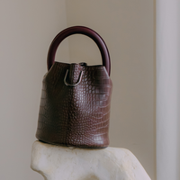 SAMO ONDOH / 23° Hannah bag - croc brown(wine handle)
