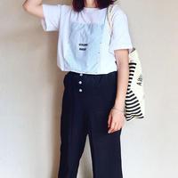 韓国ファッション Tシャツ ストライプ ワッペン デザイン Tシャツ レディース / ホワイト