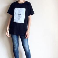 韓国ファッション Tシャツ ストライプ ワッペン デザイン Tシャツ レディース / ブラック