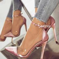 4色 バイカラー クリア ヒール アンクルストラップ パンプス 靴 2018ss ピンク ワイン パープル ブラック ゴールド