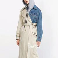 トレンチコート デニムジャケット トレンチ デニム 異素材mix コート アウター ジャケット スプリングコート 2019ss