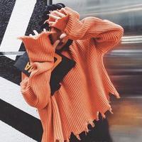 3色 ダメージニット ブロークン ニット プルオーバー   セーター トップス 2018aw オレンジ ホワイト ブラック