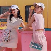 送料無料 2色 バック オープン スウェット ミニワンピース ワンピース 2019ss luxury おそろコーデ 韓国ファッション 韓国 韓国コスメ フェス お出かけ