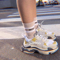 3色 ダッドシューズ スニーカー 運動靴 海外ファッション 靴 2019ss ベージュ ブラック イエロー パロディ トレンド