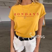 MONDAY レッド ロゴ イエロー クルーネック Tシャツ シャツ 2019ss  インポート プチプラ イベント フェス
