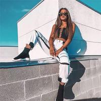 3色 ストライプ カット パッチワーク ハイウエスト ジョガーパンツ パンツ 2019ss グリーン ホワイト ブラック