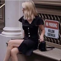 2色 フリルネック フリル サイド ボタン ドレス ミニドレス  ミニワンピース   2019ss ss ホワイト ブラック