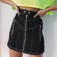 ハイウエスト ステッチ ブラック 台形ミニスカート ミニスカート 2018aw  aw