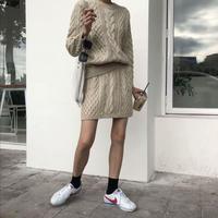 3色 ケーブルニット オフケーブル ざっくり編み ニットスカート  セットアップ 2018aw aw ベージュ グリーン ネイビー