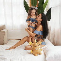baby/kids オフショルダー バックレス クロス レース編み レースアップ  ブルー ビキニ スイムウェア  子供服 ベビー服 子供