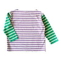 BOWBOW T-shirts [ Green&ecru+purple ]