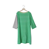 BOWBOW T-shirts One piece [ Green&ecru ]