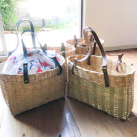 Leather strap Bamboo Basket  [green/brown ]