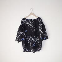 V Neck Blouse [ UME/Charcoal Brown ]