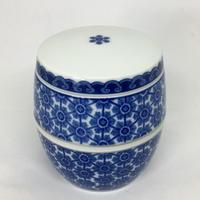 藍鍋島更紗文ミニ寿壷 有田焼花伝作