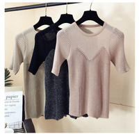 【即納】Sheer knit tops