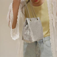 【即納/送料込】2way shiny silver bag