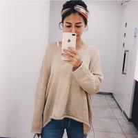 【即納】V neck knit tops