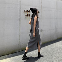 【即納】no sleeve knit one-piece